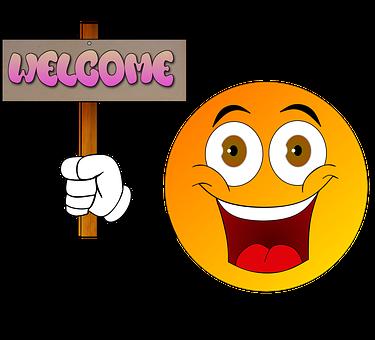 Cartoon, Willkommen, Begrüßung, Hallo