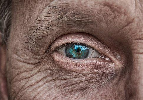 Skin, Eye, Iris, Blue, Older, Fold