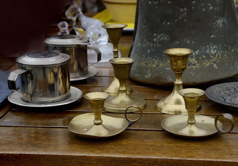 Bougeoirs, Sucrier, Bronze, Acier, Ancien, Vieux