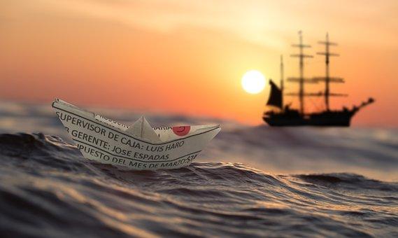 Αυγή, Χαρτί Πλοίο, Πλοίο, Θάλασσα