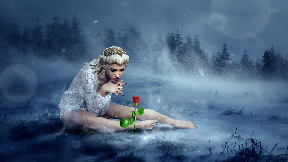 Fantasy, Winter, Rose, Girl, Snow, Sit, Cold, Mystical