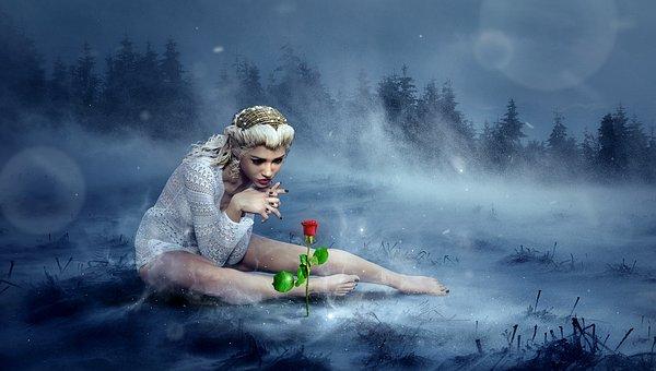Fantasia, Inverno, Rosa, Menina, Neve