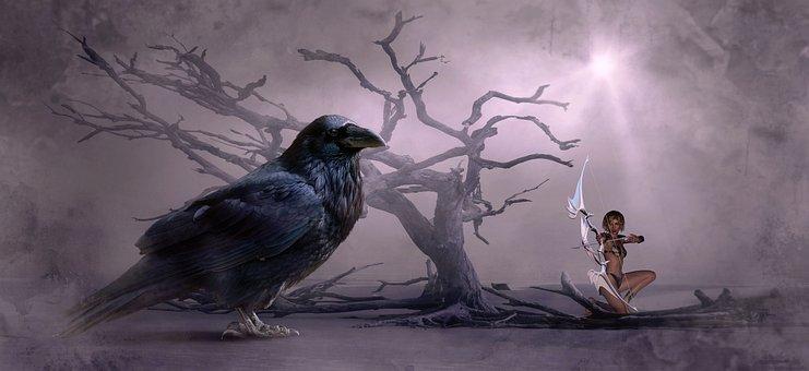 Fantasía, Crow, Árbol, Flecha, Arco