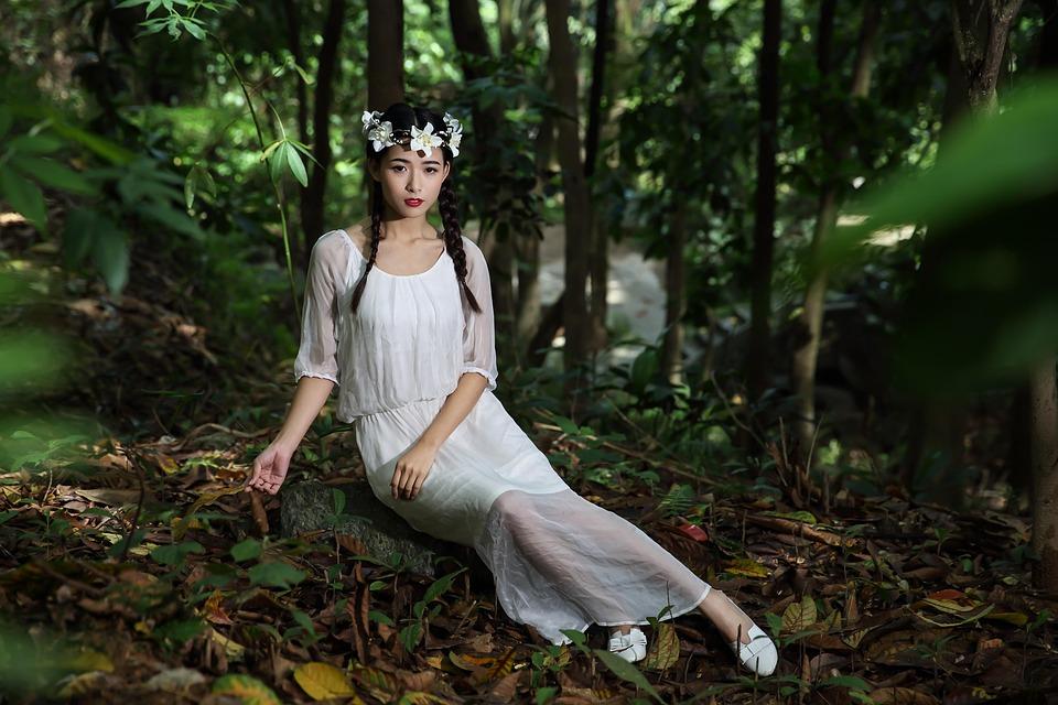 女の子、女性、女性、白いドレス、美しさ、森、花