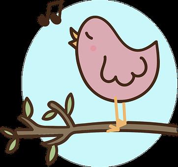 Ptak, Śpiew, Pr, Oddział, Liść, Rysunek