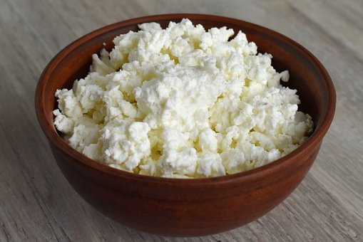 Bowl, Food, Wood, Table, Cottage Cheese