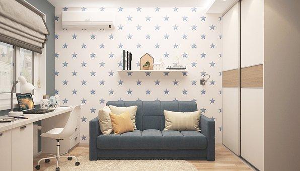 赤ちゃんボーイ, インテリア, 部屋, 以内, ランプ, 家具, アパート