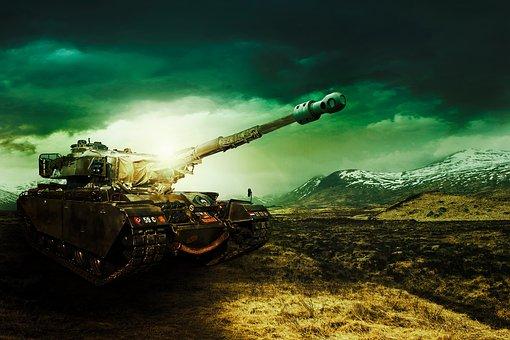 Panzer, Gegenlicht, Militär, Composing