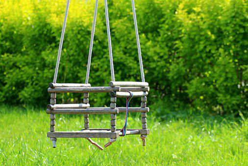 Garden, Swing, Wooden, Old, Fun
