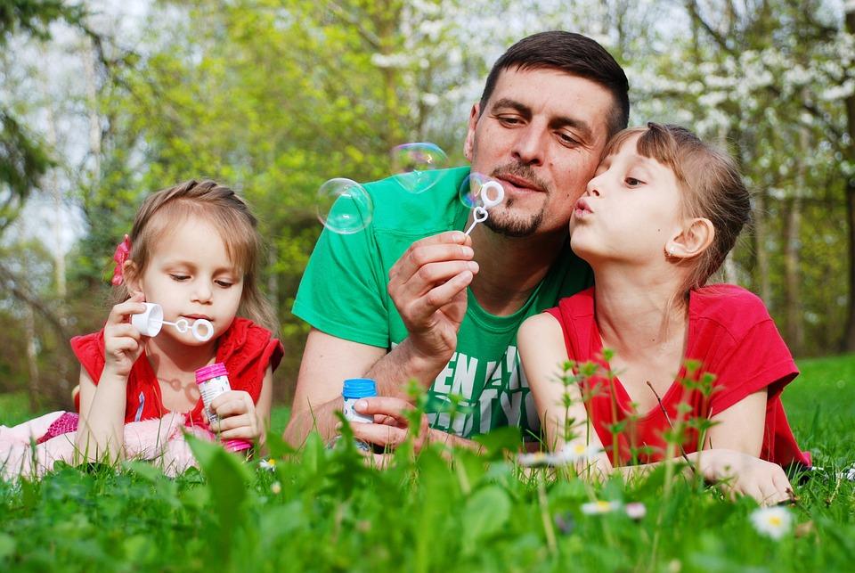 Baby, Papà, Figlia, Bambini, Bolle Di Sapone, Natura