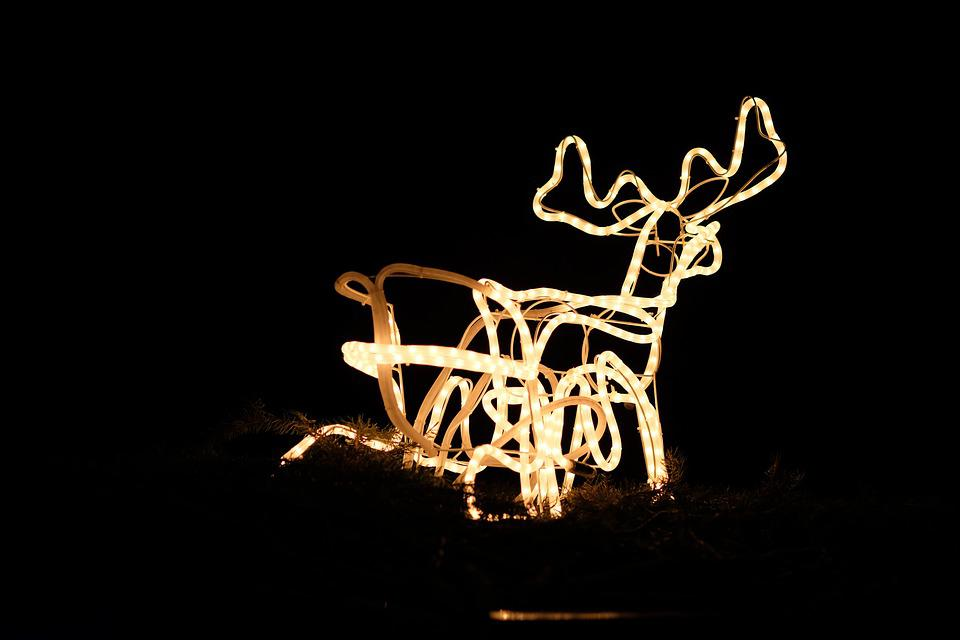 achtergrond kerstmis komst rendier verlichting