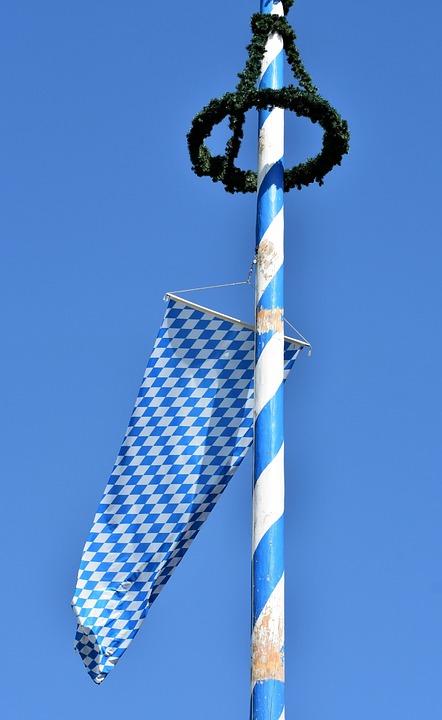 Meiboom, Vlag, Beieren, Beierse Vlag, Maypole Krans