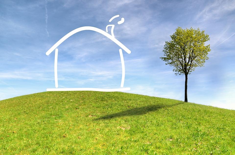 草, 自然, 空, パノラマ, アウトドア, 家, 夢, プロジェクト, 住宅ローン, 風景, 描画