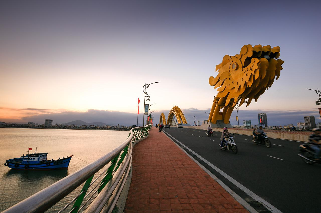 ベトナム, ダナン, ドラゴンブリッジ, 都市, 南川, 水, 旅行, 空, 景色, アーキテクチャ