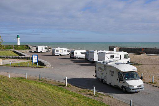 キャンプ車, 旅行, 水平の, 屋外, 空, 何人, 自然, 風景, カモメ