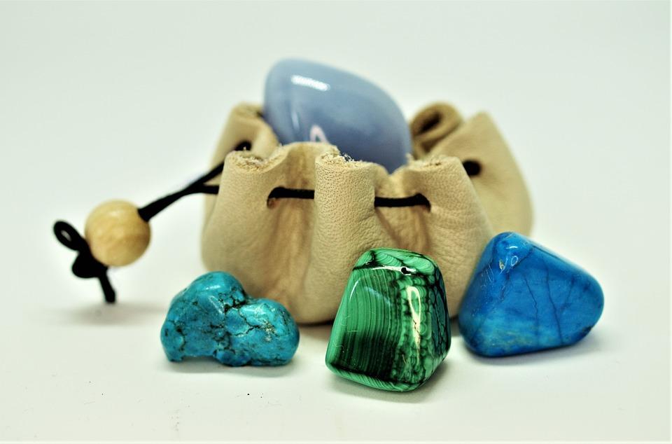 Natuurlijke, Genezing, Edelstenen, Blauw, Zak
