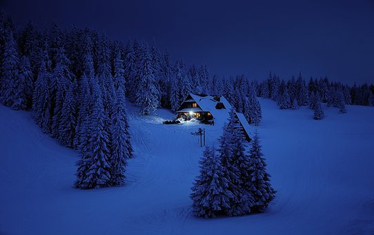 Snow, Winter, Mountains, House, Home