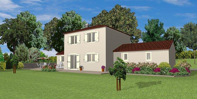 Maison, 3D, Rendre, L'Architecture