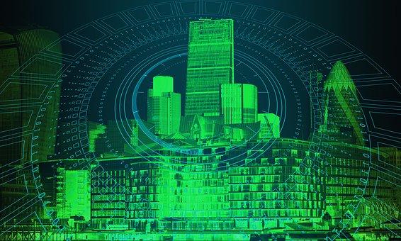 ロンドン, 技術, ビジネス, 通信, デジタル, ネットワーク, 接続