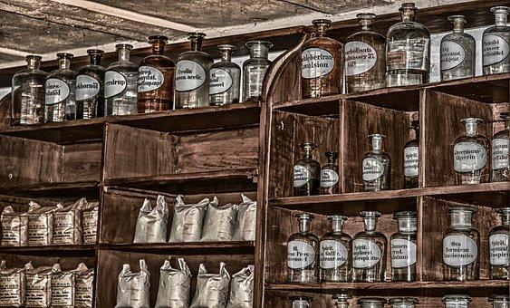 薬局, アンティーク, 古い, 化学品, ボトル, ガラスの瓶, 棚, 以前
