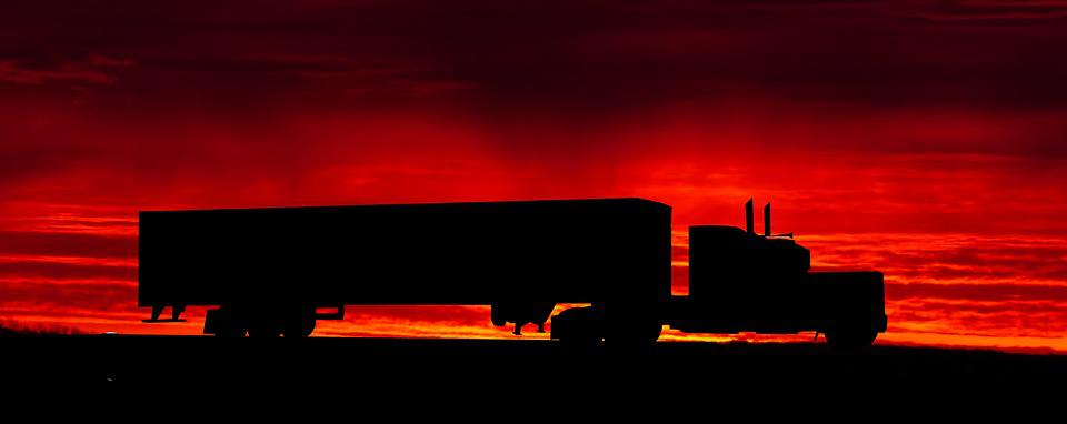 Sunset, Cut, Twilight, Evening, Truck, American, Color