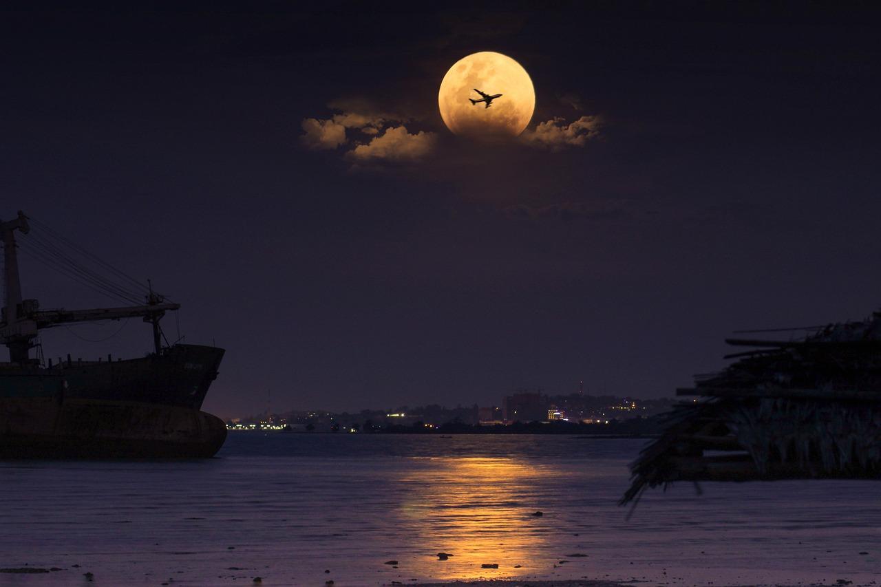 Надпись, картинки вечер море и луна