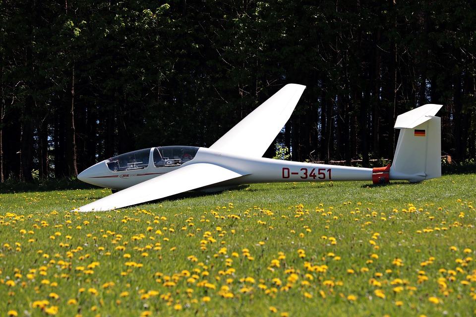 Zweefvliegtuig, Weide, Vliegend, Vliegtuigen
