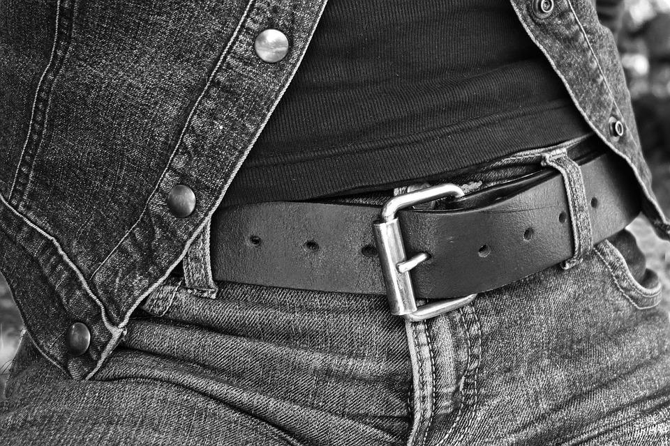 Person, Body, Hips, Jeans, Belt, Buckle, T-Shirt, Gilet