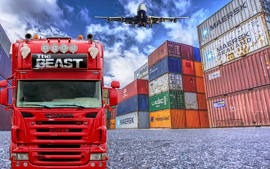 Logistics, Truck, Container, Plane, supply chain