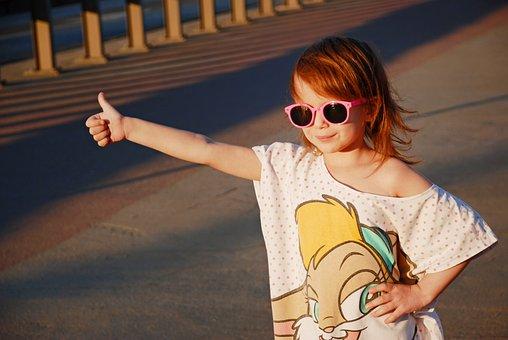 女孩, 车站, 出租车, 假期, 照片, 儿童, 小女孩, 可爱, 视图, 眼镜