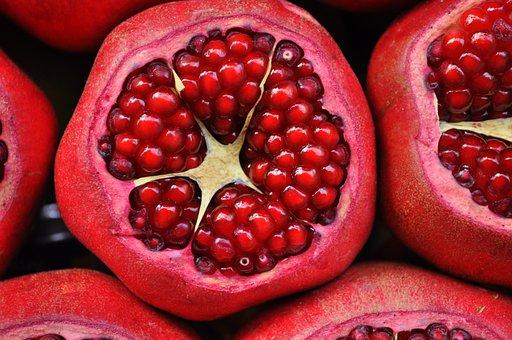 Pomegranate, Exotic Fruit, Fruit, Cut