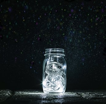 Jar, Lights, Fireflies, Magic, Night