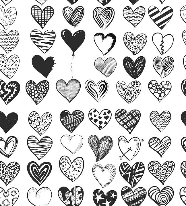 hearts pattern drawing feelings love design