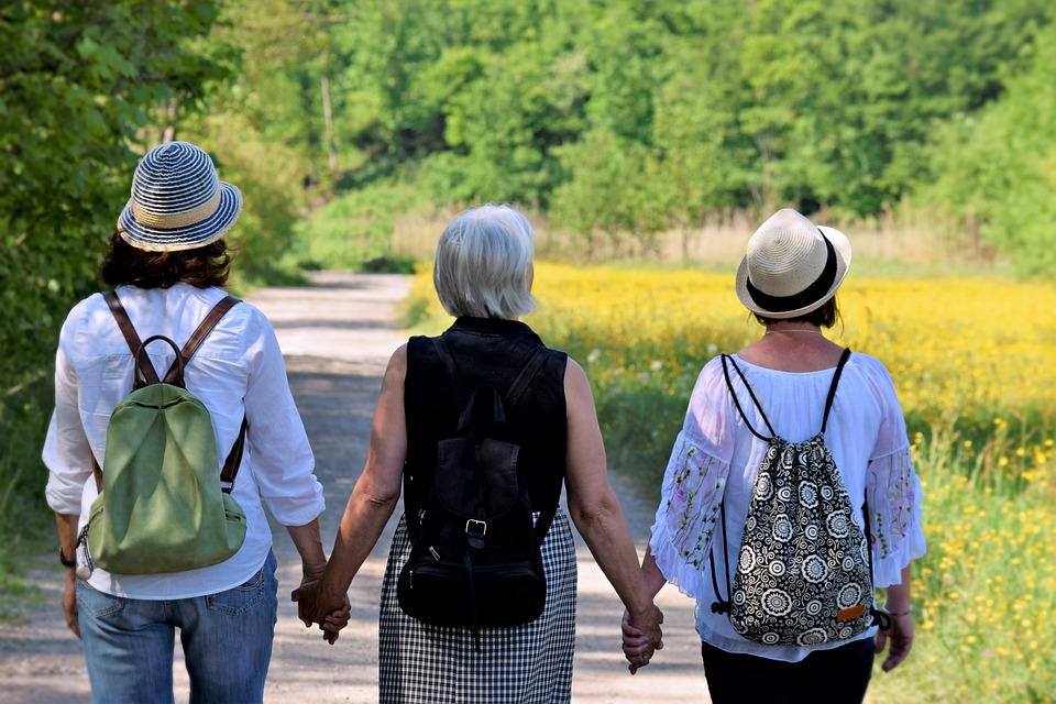 ผู้หญิง, เพื่อน, ธรรมชาติ, เดิน, มิตรภาพ, เข้าด้วยกัน