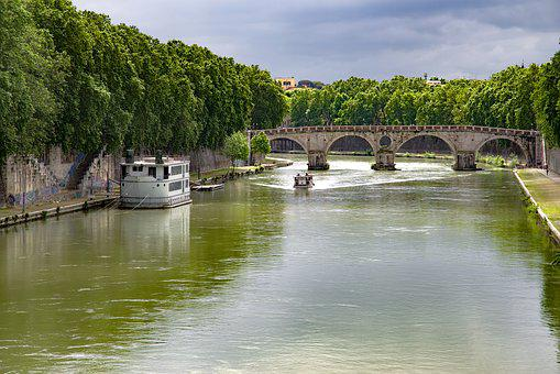 Bridge, River, Tiber, Rome, Boat