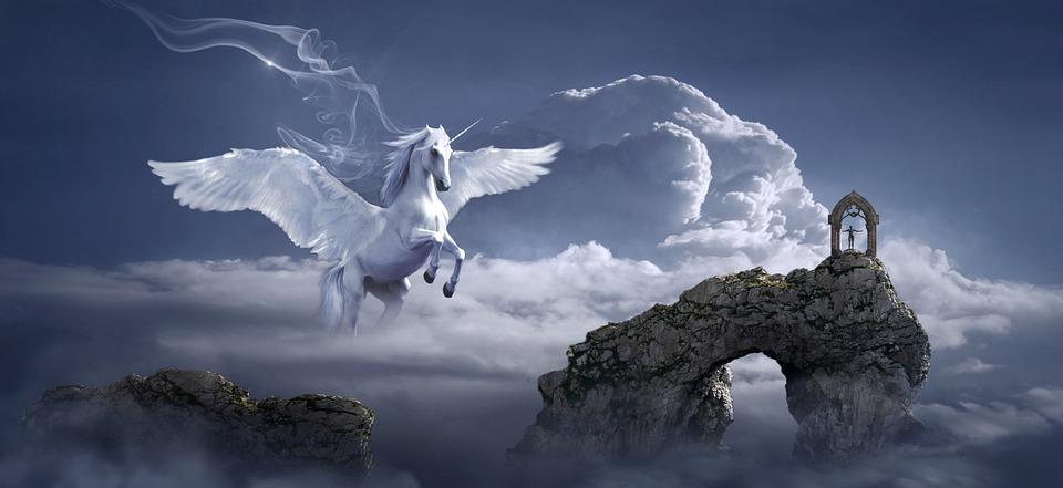 Paard, Pegasus, Boog, Fantasie, Mystiek, Sprookjes