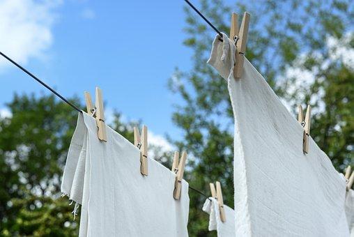 ホワイト, ランドリー, ぶら下げ, 乾燥, クリーン, 洗浄, 家庭, 家事