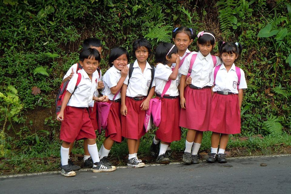 Bali, Indonésie, Enfants, École, Joyeux, Uniformes