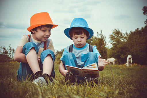 Two Boys, 2 Children, Read, Meadow