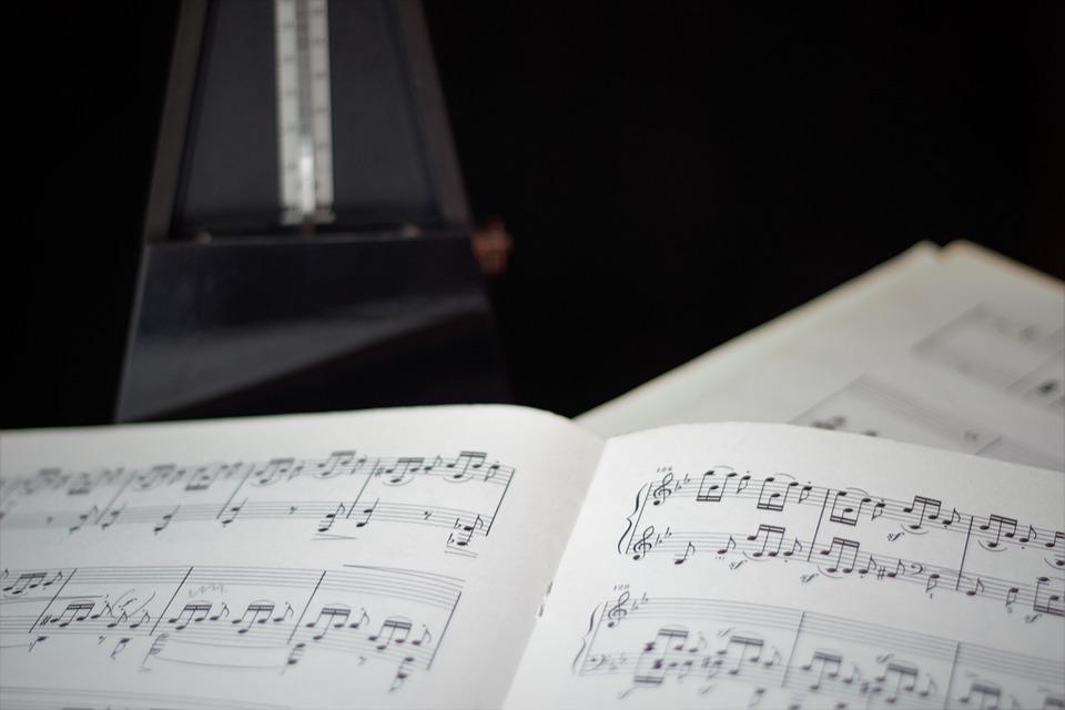 歌詞, メトロノーム, ペース, シート音楽, 注意, 音楽, 計測器, ピアニスト, ミュージシャン
