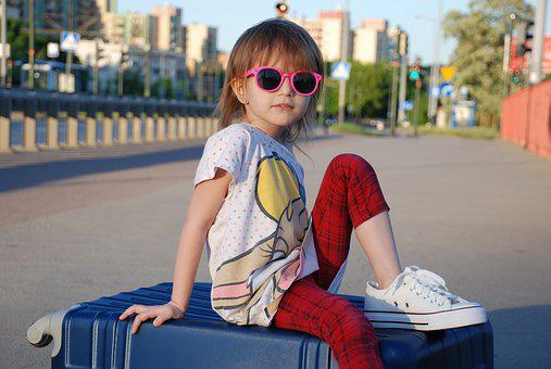 Girl, Suitcase, Summer, Child, Vacation
