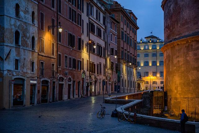 Street, Pantheon, Rome, Italy, Architecture, Facade