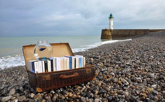 Books, Suitcase, Novel, Lighthouse