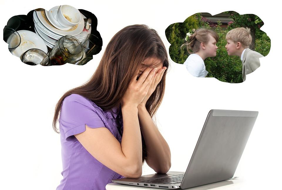 Mujer Estresada, Mujer, Estrés, Familia, Trabajo