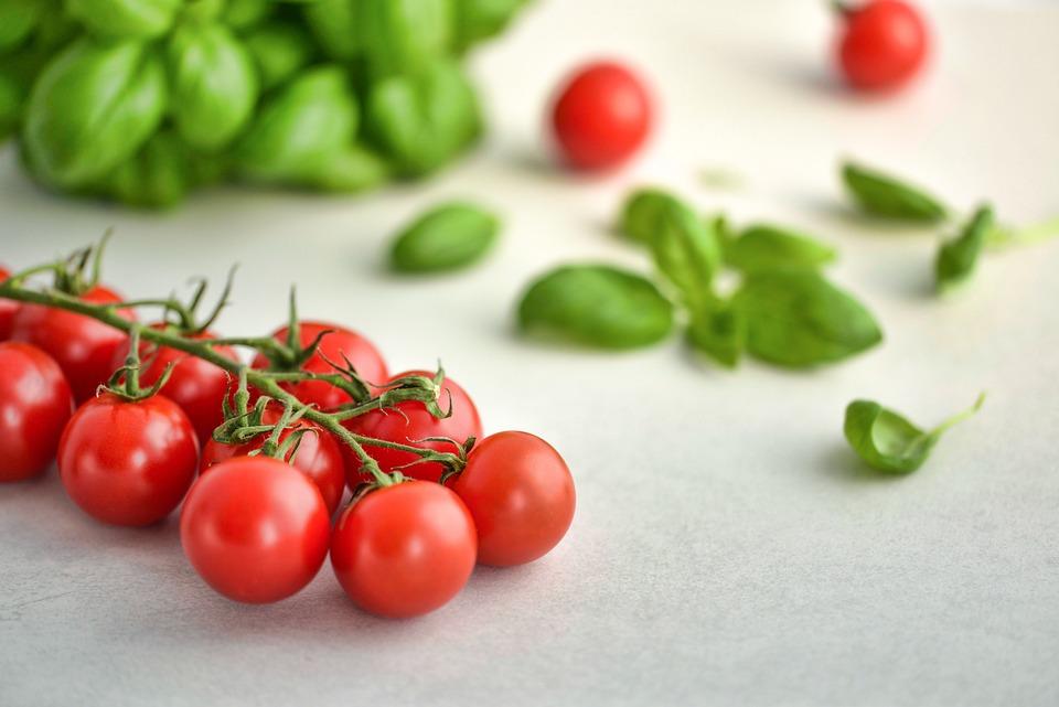 トマト, バジル, 食品, イタリア, 新鮮な, 野菜, 健康, 赤, 菜食主義者, 成分, 緑, ダイエット