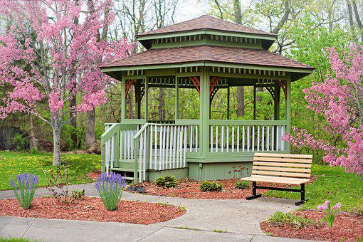 Gazebo, Spring, Flowering Trees, Pink