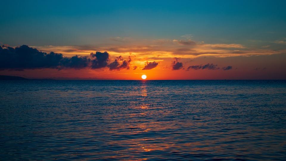 太陽, 夕日, 空, 雲, 夕陽, 夕焼け, 夕暮れ, 日本, 日没, 風景, 光, 海, サンセット