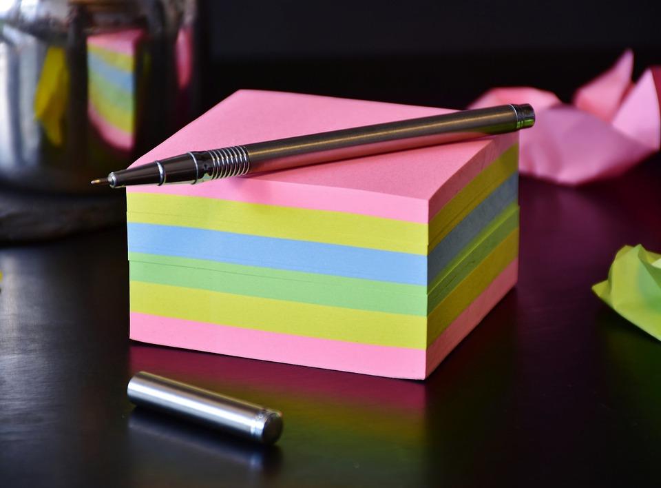 紙, ブロック, 書きます, メモ, 注意, ペン, オフィス, リスト, 付箋