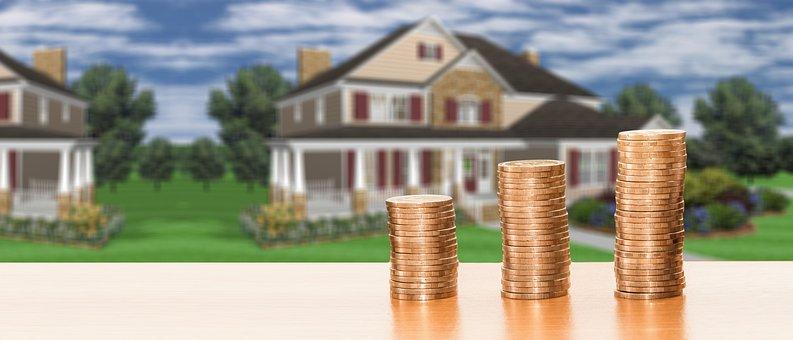 不動産, 家, 家の購入, 保存し, お金, コイン, 金融, 経済, 予算