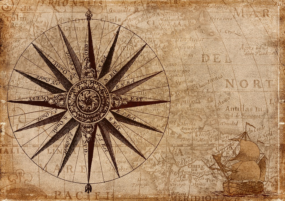 Compass, Map, Nautical, Antique, Navigation, Vintage